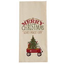 MERRY CHRISTMAS WAGON EMBROIDERED DISHTOWEL
