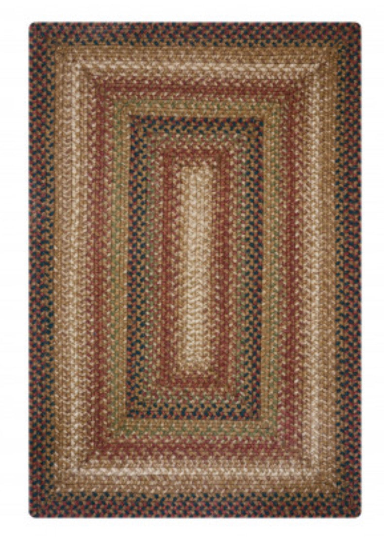GINGERBREAD BROWN - DEEP RED JUTE BRAIDED RECTANGLE RUGS- select size