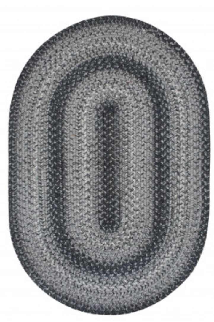 FLINT HILL GREY JUTE BRAIDED OVAL RUGS- select size