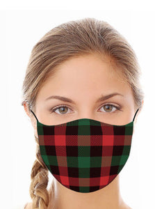 Red/green/black plaid mask