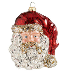 5 Inch Glass Santa Head Ornament