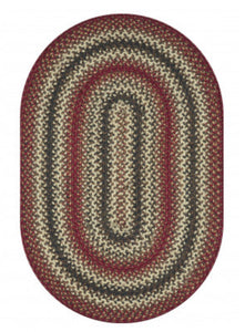 CHESTER RED BROWN - NATURAL JUTE BRAIDED OVAL RUGS- select size