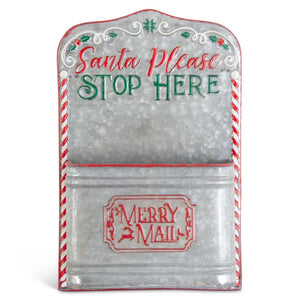 16 Inch Galvanized Metal MERRY MAIL Box Wall Art