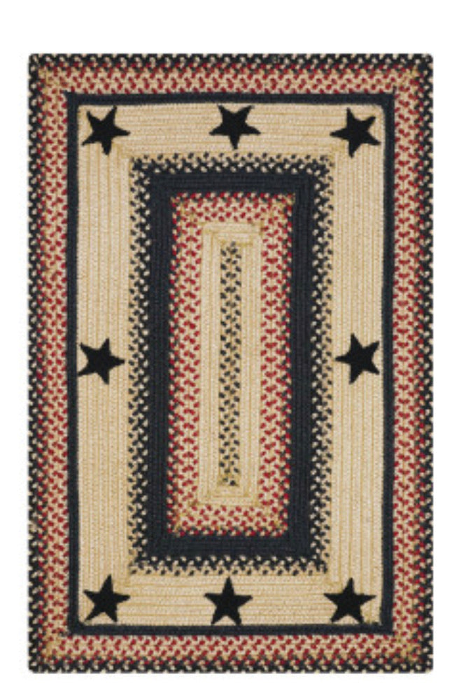 PRIMITIVE STAR -GLOUCESTER BLACK - RED JUTE BRAIDED RECTANGLE RUGS- select size