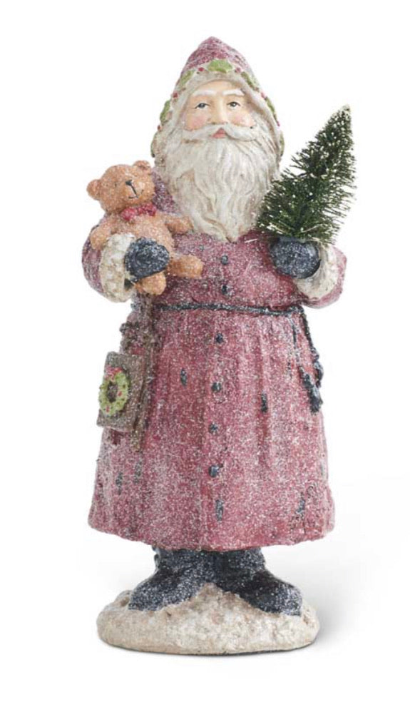 12.75 Inch Vintage Resin Glittered Santa Holding Bear and Tree