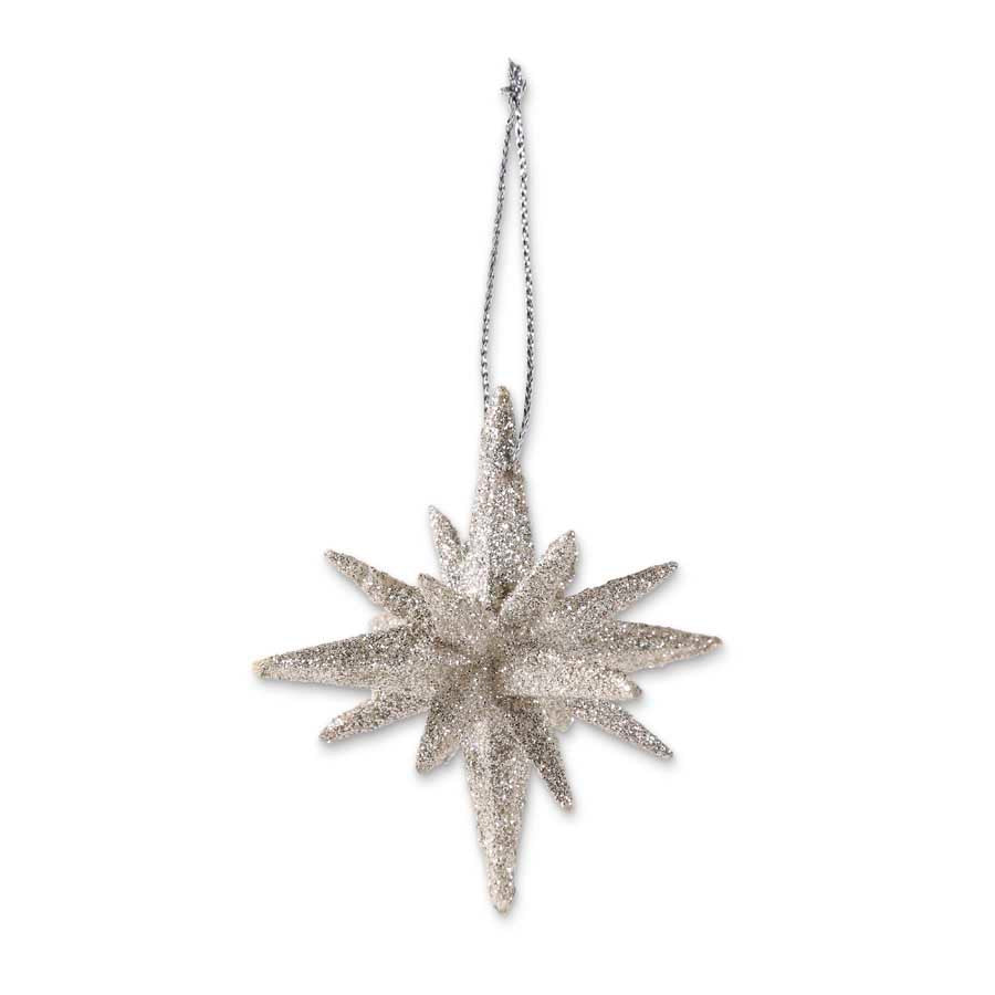 2 Inch 9 Point Silver Glittered Star Ornament