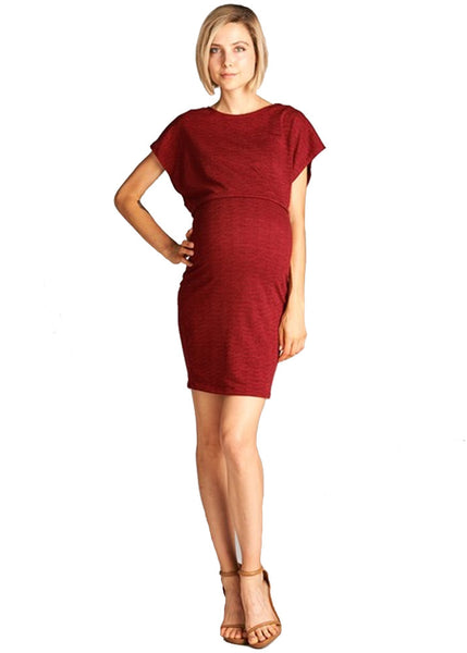 Double Layer Knit Dress in Burgundy