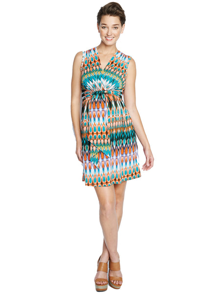 Front Tie Dress in Sunset Print