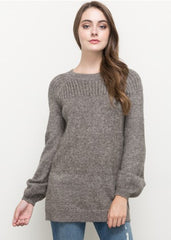 Maternity Tops - Balloon Sleeve Sweater in Charcoal