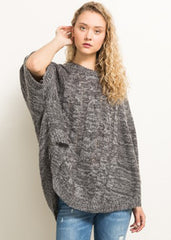 Maternity Tops - Cable Knit Sweater in Charcoal