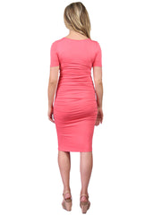 Maternity Dresses - Body Con Dress in Coral