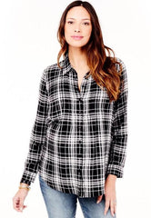 Plaid Pintuck Woven Top in Black