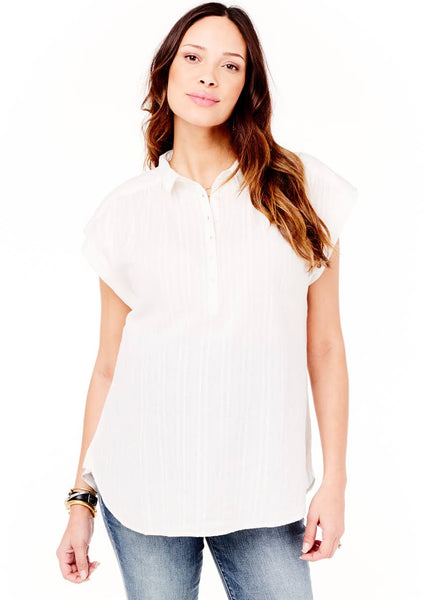 Boxy Short Sleeve Woven Top in White