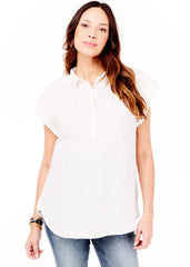 Maternity Tops - Boxy Short Sleeve Woven Top in White