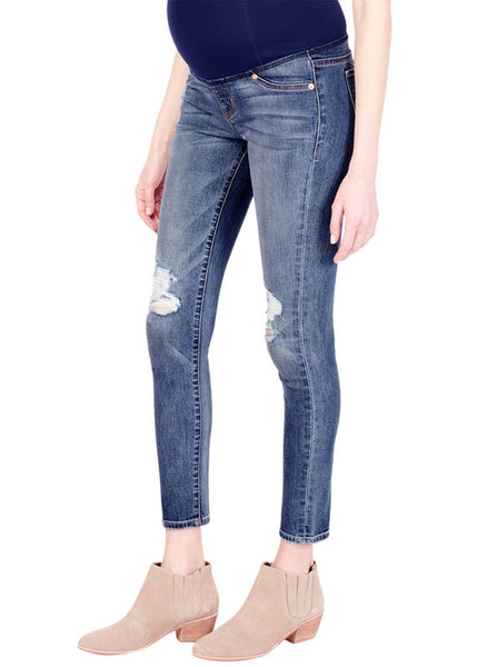 Sasha Skinny with Cross Over Panel in Light Indigo