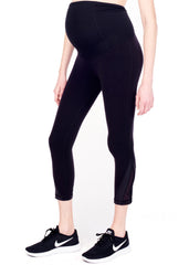 Maternity Yoga Pants - Active Capri With Mesh Insert in Black