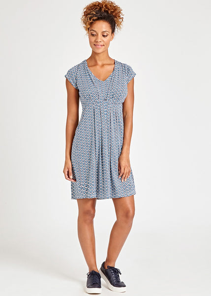Duck Egg Spot Dress in Blue Print