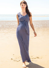 Tie Front Breton Maxi Dress