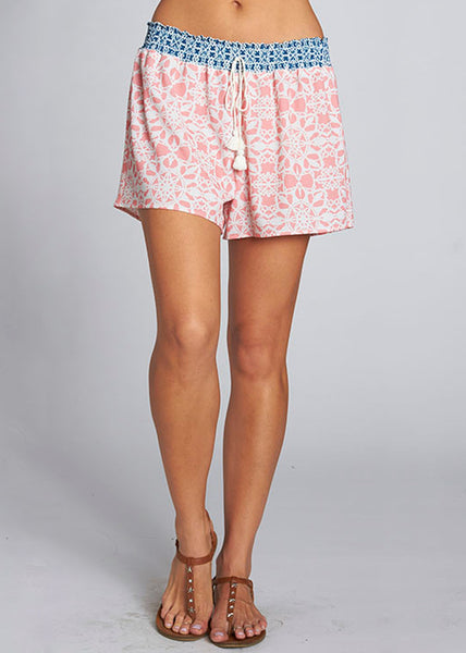 Smocked Shorts in Coral