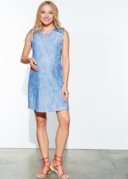 Shoulder Button Shift Dress