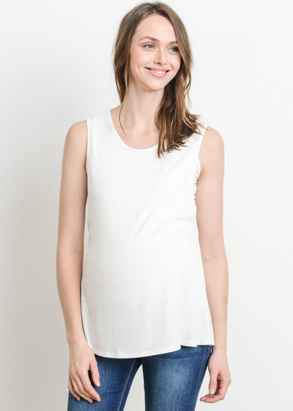 Ribbed Maternity Nursing Tank in Ivory