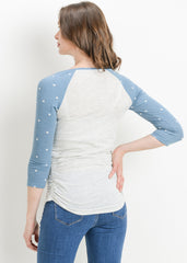 Scoop Neck Raglan Sleeve Top in Chambray Dot - modish MATERNITY