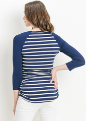 Scoop Neck Raglan Sleeve Top in Navy Stripe