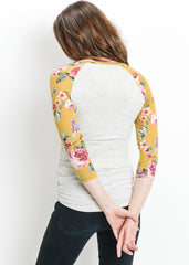 Scoop Neck Raglan Sleeve Top in Floral Mustard Print