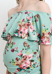 Maternity Dresses - Bare Shoulder Ruffle Body Con in Mint