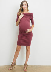 Maternity Dresses - Bare Shoulder Body Con Dress in Rust