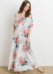 Maternity Dresses - Bare Shoulder Ruffle Maxi Dress in Ivory Floral