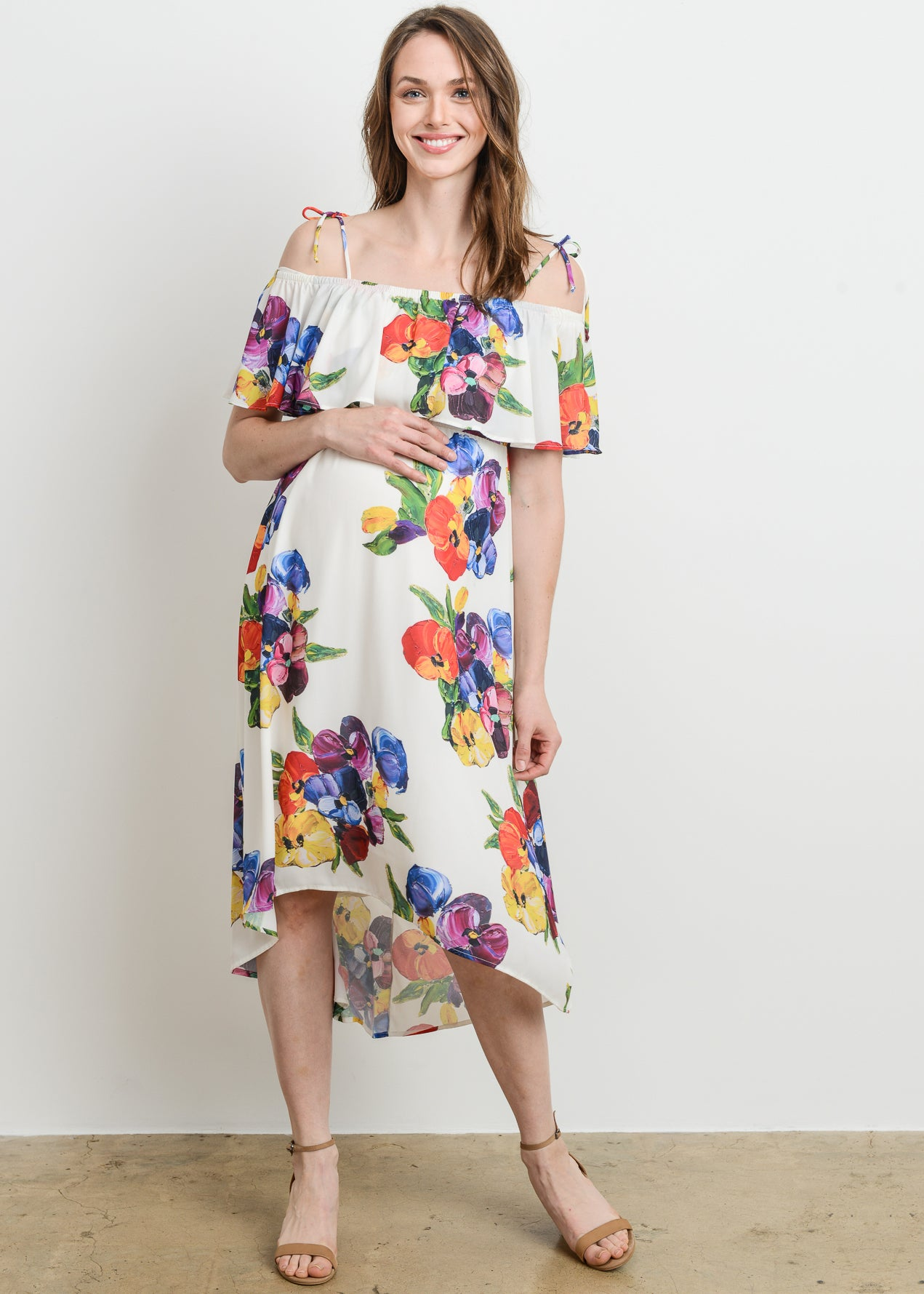 Mod collective by modish maternity off the shoulder high low dress off the shoulder high low dress in white floral ombrellifo Image collections