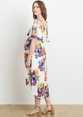 Off The Shoulder High Low Dress in White Floral