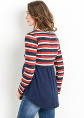 Maternity Nursing Tops - Layered Nursing Sweater in Navy Stripe