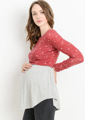 Maternity Nursing Tops - Layered Nursing Sweater in Red Dot