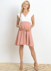 Maternity Dresses - Cross Over A Line Dress in Ivory Pink