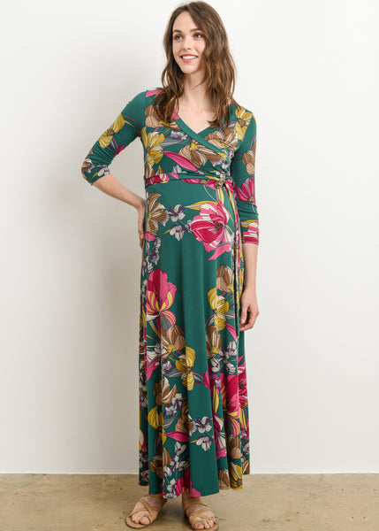 Faux Wrap Floral Maxi Dress in Green Print