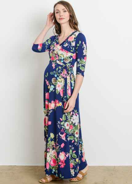 Faux Wrap Floral Maxi Dress in Navy Floral