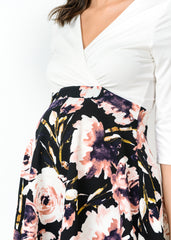 Cross Over A Line Dress in Ivory Black Floral Print