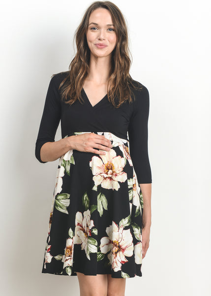 Cross Over A Line Dress in Black Floral Print