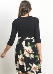 Maternity Dresses - Cross Over A Line Dress in Black Floral Print