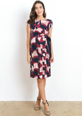 Maternity Dresses - Drape Side Tie Dress in Burgundy Print