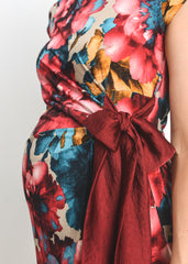 Drape Side Tie Dress in Burgundy Print