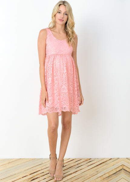 Lace Baby Doll Dress In Pink