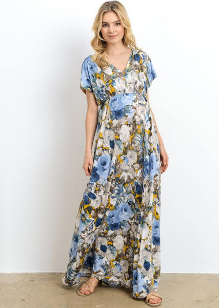 Watercolor Floral Print Maxi Dress in Blue