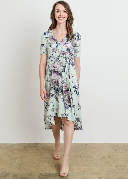 Surplice Floral High Low Dress in Mint Print