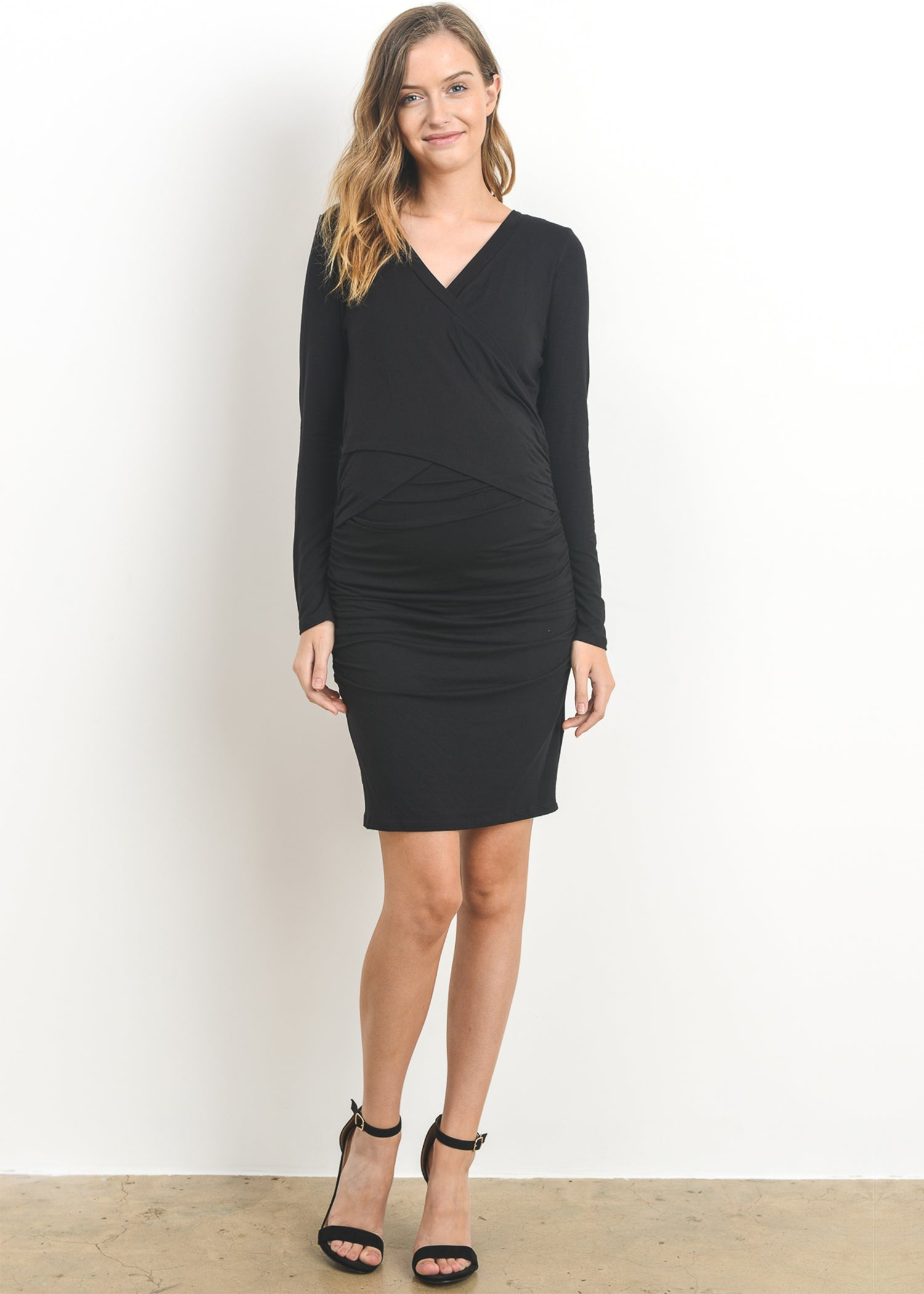 Mod collective by modish maternity anya long sleeve dress modish anya dress in black ombrellifo Image collections