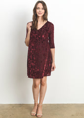Maternity Dresses - Burnout Velvet Dress In Burgundy