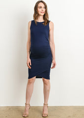 Knee Slit Body Con Maternity Dress in Navy