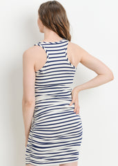 Tank Body Con Dress in Ivory Navy Stripe